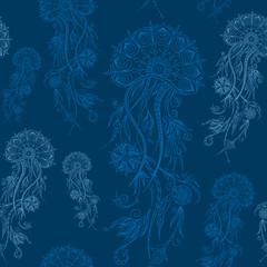 Hand drawn jellyfish. Vector illustration. Henna Mehendi Doodles