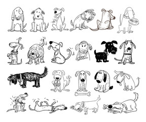 cartoon dog set, Vector illustration.