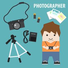 cute camera photographer cartoon character and photographic equipment flat design