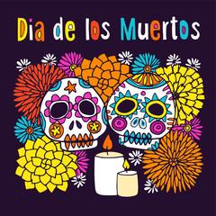 Dia de los Muertos or Halloween greeting card, invitation, with hand drawn ornamental sculls