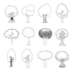 trees set, vector illustration.