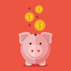 Piggy bank and gold coins. Modern flat design vector illustration