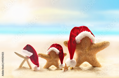 family of starfish on summer beach and santa hat merry christmas - Merry Christmas Beach Images