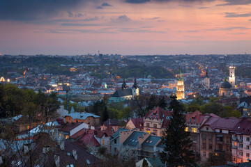 Panoramic Aerial view of old town at sundown. Lviv, Ukraine,