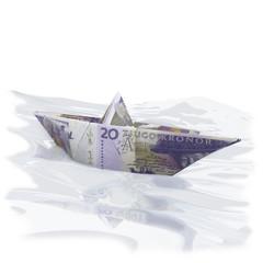 Papierschiffchen mit 20 Schwedischen Kronen