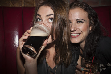 Friends drinking at a nightclub