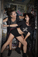 Young women dancing at a night club