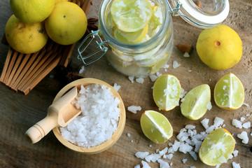 lemon sliced with salt