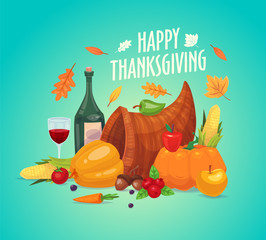 Beautiful, colorful illustration Happy Thanksgiving celebration