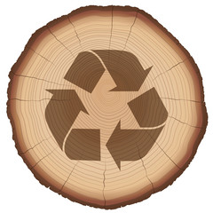 Recycling symbol on a wood slice. Illustration over white background.