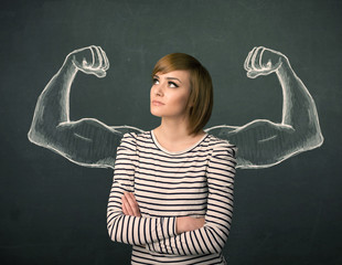 woman with sketched strong and muscled arms