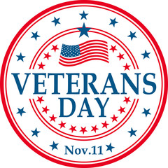 vector greeting card for the holiday of veteran's Day in the USA
