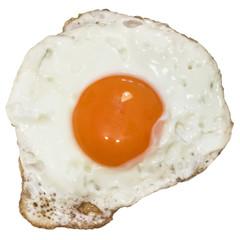 Sunny Side Up Fried Egg, Isolated on White Background.