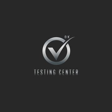 Check mark logo, silver testing software or web app emblem, mockup design element check sign icon