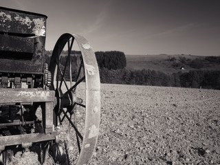 field and old wheel