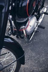 close detail of an old German motorcycle
