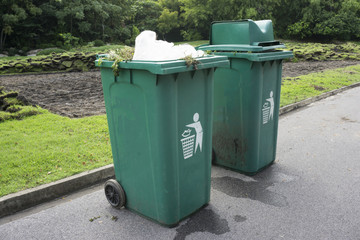 Full green garbage bin on road in park
