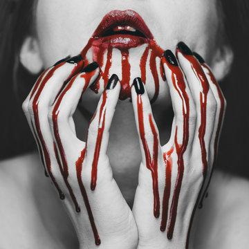 Woman in blood