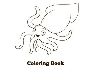 Coloring book squid fish cartoon illustration