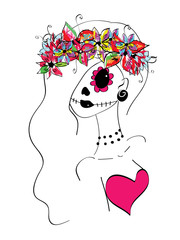 line art girl with creative makeup, sugar skull painted, Day of the Dead concept, Dia de los Muertos