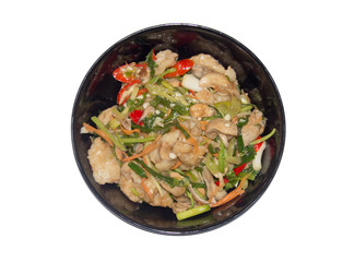 spicy fried fish with vegetables , Asian style food , Thailand on isolate