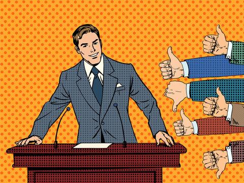Businessman speaker business concept like dislike hands