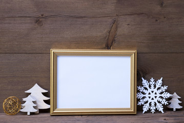 Frame With White Christmas Decoration, Copy Space