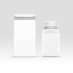 Vector Medical Packaging Box and Bottle with Cap for Pills