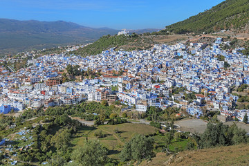 View of Chefchaouen from the hill of Jemaa Bouzafar Mosque, Morocco
