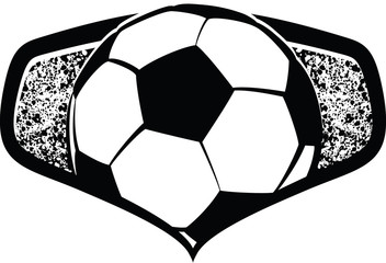 Black and White vector illustration of a soccer or football shield. Inside the shield is a soccer ball or football with a splatter, grunge background.