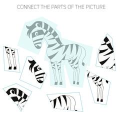 Puzzle game for chldren zebra