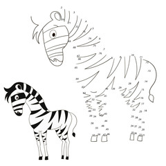 Connect the dots game zebra vector illustration