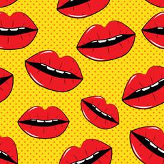Lips Seamless Pattern Background in Pop Art Style Vector Illustr