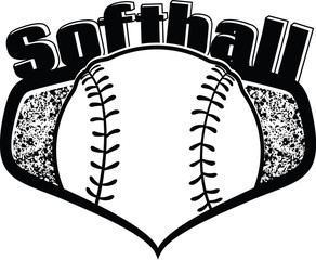 Gold Softball Shield with the word softball on top.  Inside the shield is a softball with a splatter, grunge background