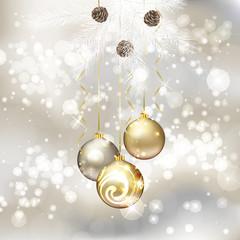 Merry Christmas greeting card with Christmas balls
