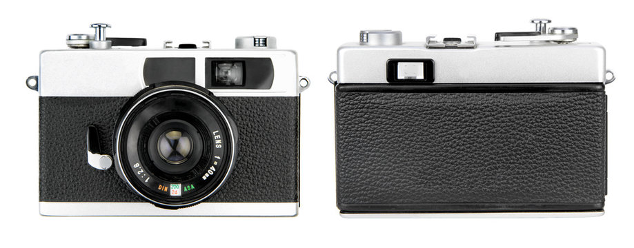 Retro camera front and back view, isolated on white background