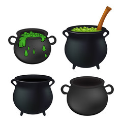 Witch cauldron empty and with green potion, bubbling witches brew set. Realistic Vector illustration isolated on white background.