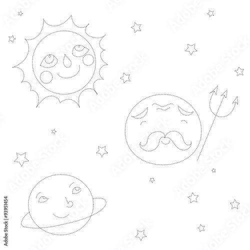 Educational Game Connect The Dots To Draw Planets Stock Image And
