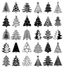 set of 30 Christmas trees