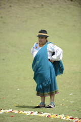 An Indian woman from Andes in traditional costume.
