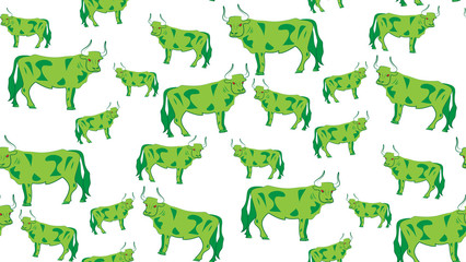 Vector seamless background of bulls. Chaotic cow on a white background.