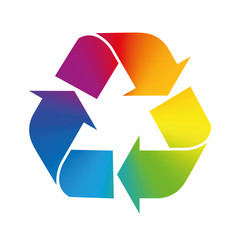 Recycling symbol, rainbow gradient colors. Illustration over white background.