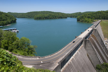 Lake Norris formed by the Norris Dam on the River Clinch in the Tennessee Valley USA