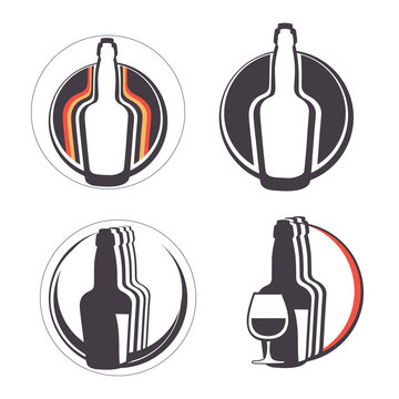 Stylish collection of alcohol emblems