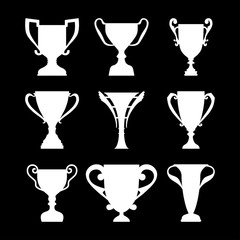 Winner Trophy Cup Silhouette Set.