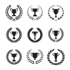 Winner Trophy Cup Silhouette Set with circular laurel foliate an