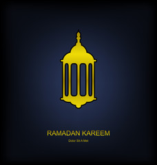 Golden Fanoos on Dark Background for Ramadan Kareem