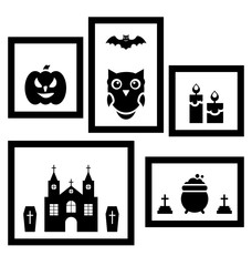Frames with Halloween Traditional Symbols