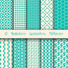 Grunge Seamless Geometric Patterns Set.