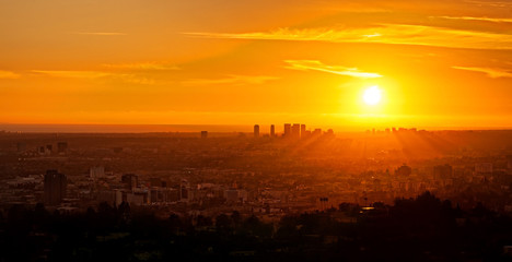 Stunning golden sunset cityscape of Los Angeles, California